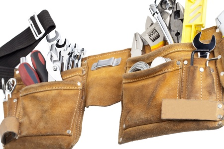 Close-up shot of brown tool belt with variety of hand tools. Stock Photo - 17258390