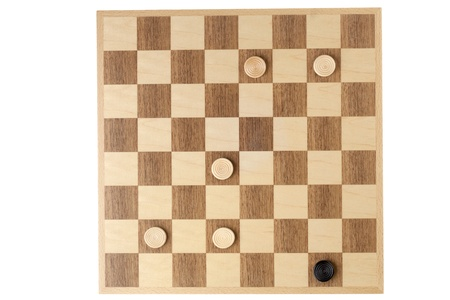 checker: Top view image of checker pieces on checker board against white background