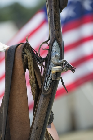 vintage riffle: Close up image of vintage rifle use for reenactment of war of 1812