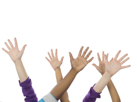 Image of raising hands against white background photo