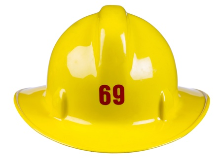 Rear back image of a yellow fire helmet against white background