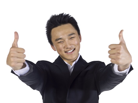 Close-up image of a happy businessman with two thumbs up Stock Photo - 17288299