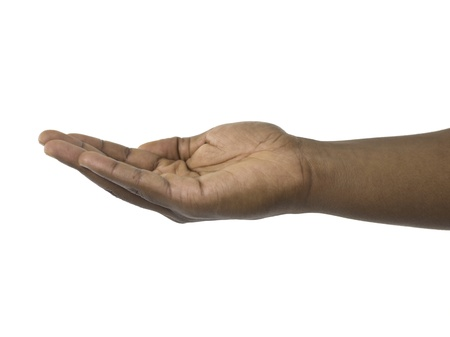 Close-up image of begging human hand against the white surface Stock Photo - 17301390
