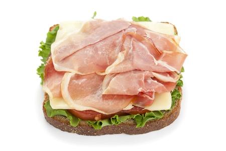 ham sandwich: Prosciutto panino fresco isolato in uno sfondo bianco Archivio Fotografico