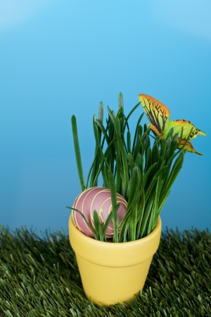 Image of big easter egg in pot with plants photo