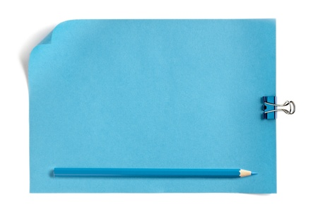 Blue paper and pencil with paper clip against white background Stock Photo - 17302078