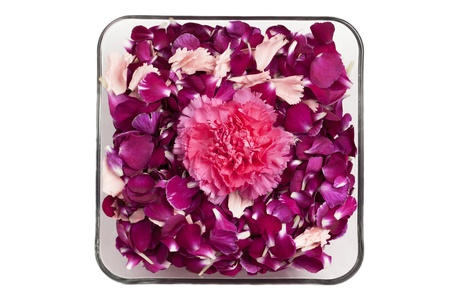 Overhead shot of pink flower and flower petals in glass bowl. Фото со стока