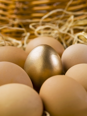 Closed up image of gold eggs with brown eggs photo