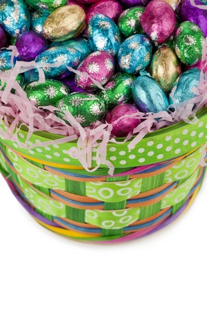 A close up image of colorful chocolate candies in basket against white background Stock Photo - 17302133