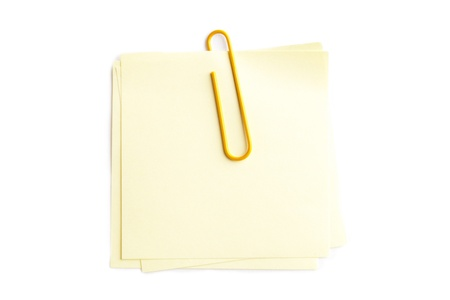Close-up image of paperclip on adhesive note. Stock Photo - 17301420