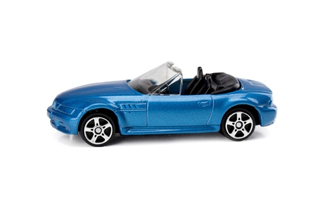 top down car: Side view image blue top down toy car isolated on a white surface