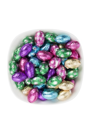 Top view of Easter candies in a bowl. photo