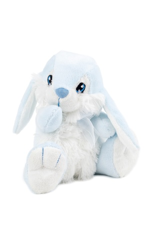 A close up image of a blue rabbit stuffed toy isolated on photo