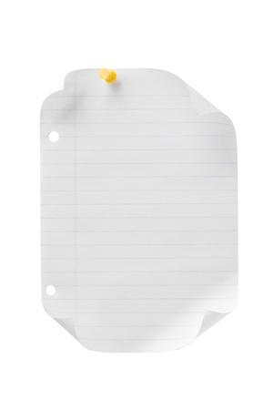 yellow pushpin: Portrait of a white sheet of paper with a yellow pushpin