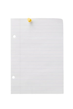 yellow pushpin: Image of a yellow pushpin on the blank sheet of paper against the white background Stock Photo