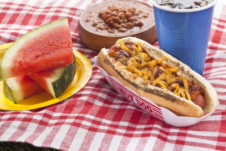 Grilled cheese sandwich hotdog, watermelon, soda and chili con carne red beans on a picnic mat Stock Photo - 17325702