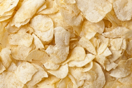 Close up image of heap of potato chips Stock Photo