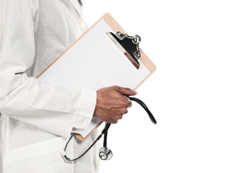 Cropped image of a doctor holding clipboard and stethoscope over white background