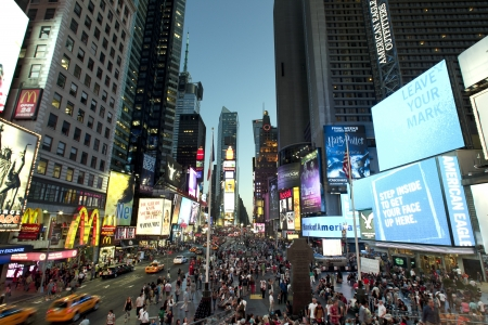 square: Times square at dusk. Editorial