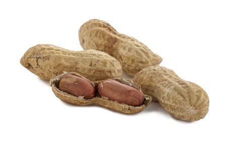 pygmy nuts: Close up image of organic peanuts against white background