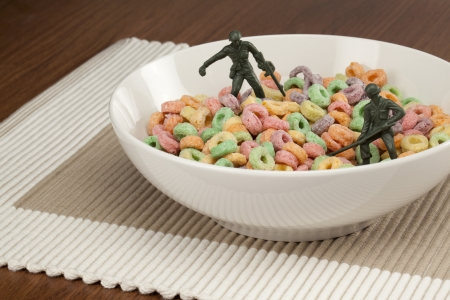 Army men in cereal