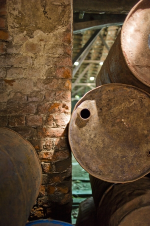 Some barrels inside a warehouse in Kochi, India.