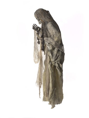 Side view of a human skeleton with chain against white background. photo