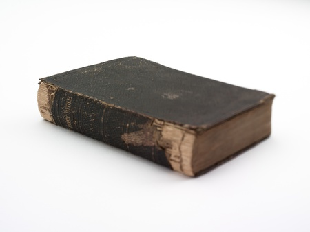 A weathered looking leatherbound book