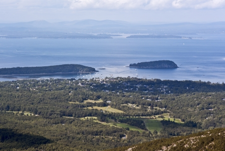 Elevated view of bar harbor. photo
