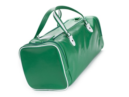 duffel: A green gym bag angled on a white background Stock Photo