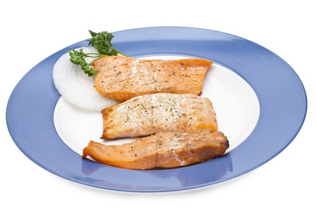 creatively: Grilled salmon dish creatively served in a round plate