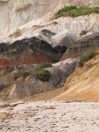 Image of sandstone cliff at beach. photo