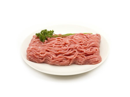 Raw ground beef on a plate, sitting on a white background. Stock Photo - 17339716