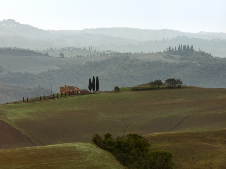 Early morning fog engulfs the hills of Tuscany, Italy.