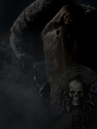 Digitally generated image of a skeleton over dark background. photo