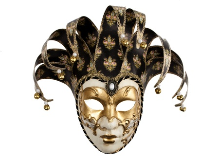 A venetian mask with a jester jat