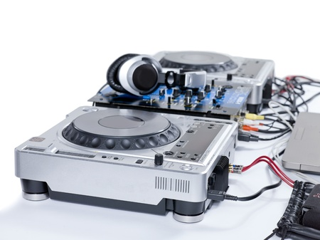 Horizontal image of a turntable player isolated over the white background