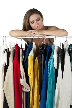 Close-up image of sad boutique owner isolated on a white surface Stock Photo - 17353759