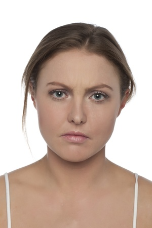 Portrait of frowning woman in a close-up image