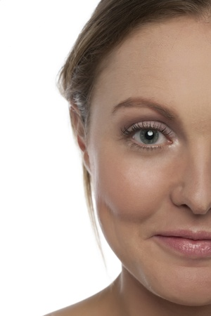 Cropped image of Smiling Half woman face Stock Photo - 17352427