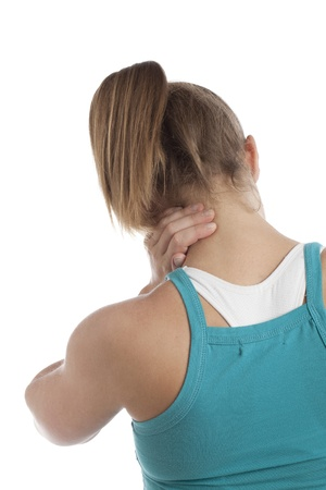 Rear view woman suffering from neck pain