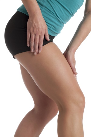 Close up image of woman leg's suffering pain against white background Stock Photo - 17353044