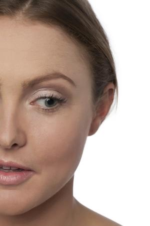 Stock photo of Woman Half face portrait on white photo