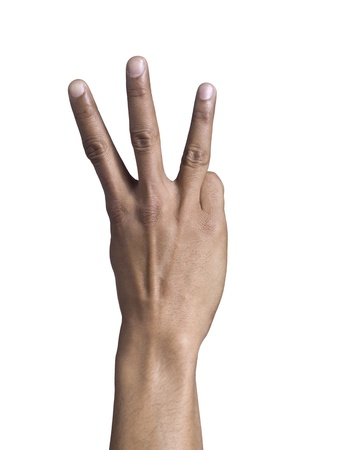 fingers: Males hand showing three fingers Stock Photo