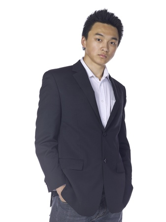 teenage guy: Portrait of Asian teenage guy wearing casual attire against white background