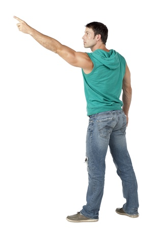sleeveless hoodie: Image of an attractive man pointing to the side against the white surface