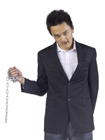 Portrait of a frustrated businessman with chain over the white surface Stock Photo - 17367469