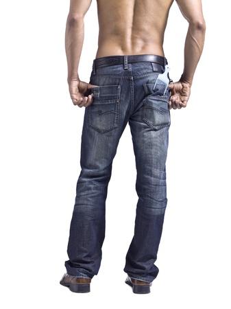 Afbeelding van achteraanzicht van een man met kam op zijn zak staan tegen een witte achtergrond Stockfoto
