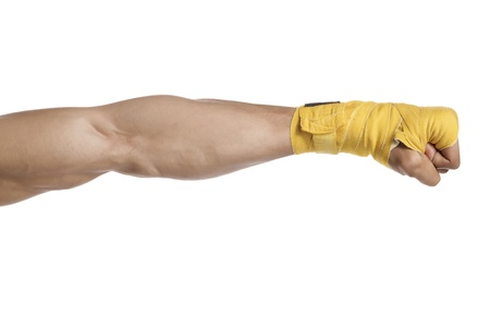 boxing tape: Cropped shot of a boxers arm wrapped with yellow boxing tape