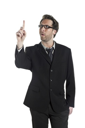 A funny face of businessman looking at his index finger against the white background photo